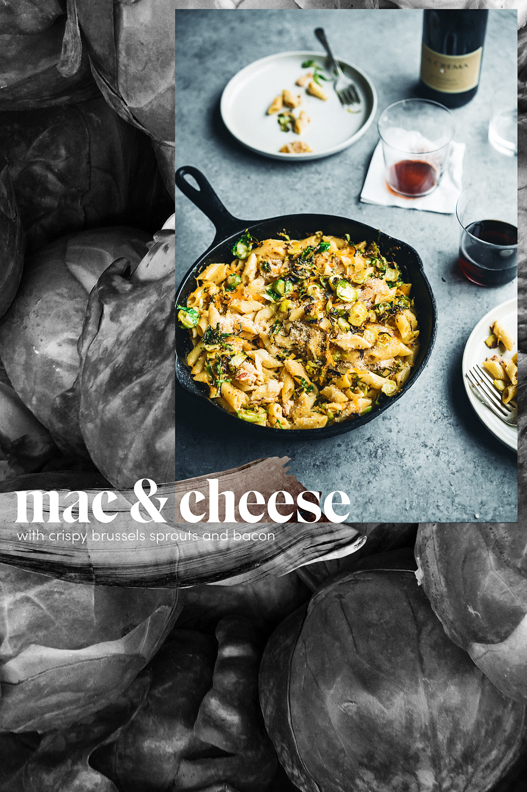 Mac & Cheese with Crispy Brussels Sprouts and Bacon