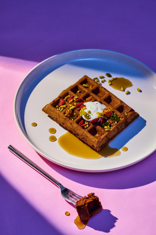 Maca Chocolate Waffles, Coconut Yogurt, and Dehydrated Berries (dairy free)